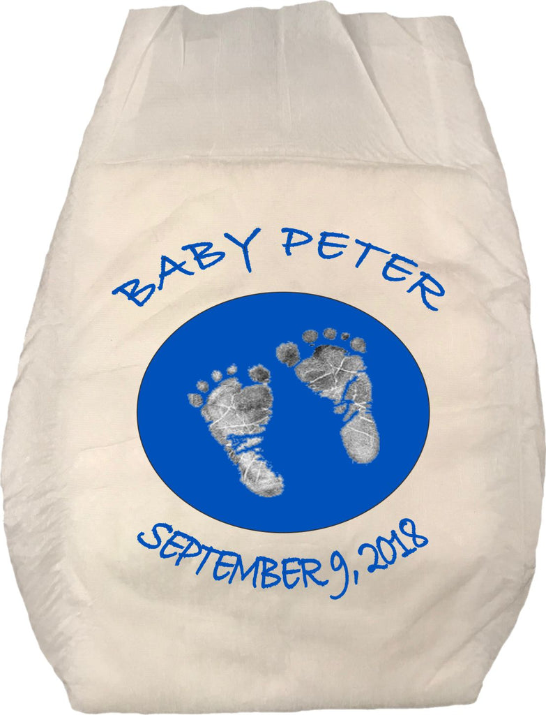 Personalized Baby Footprint Diaper 5 Pack