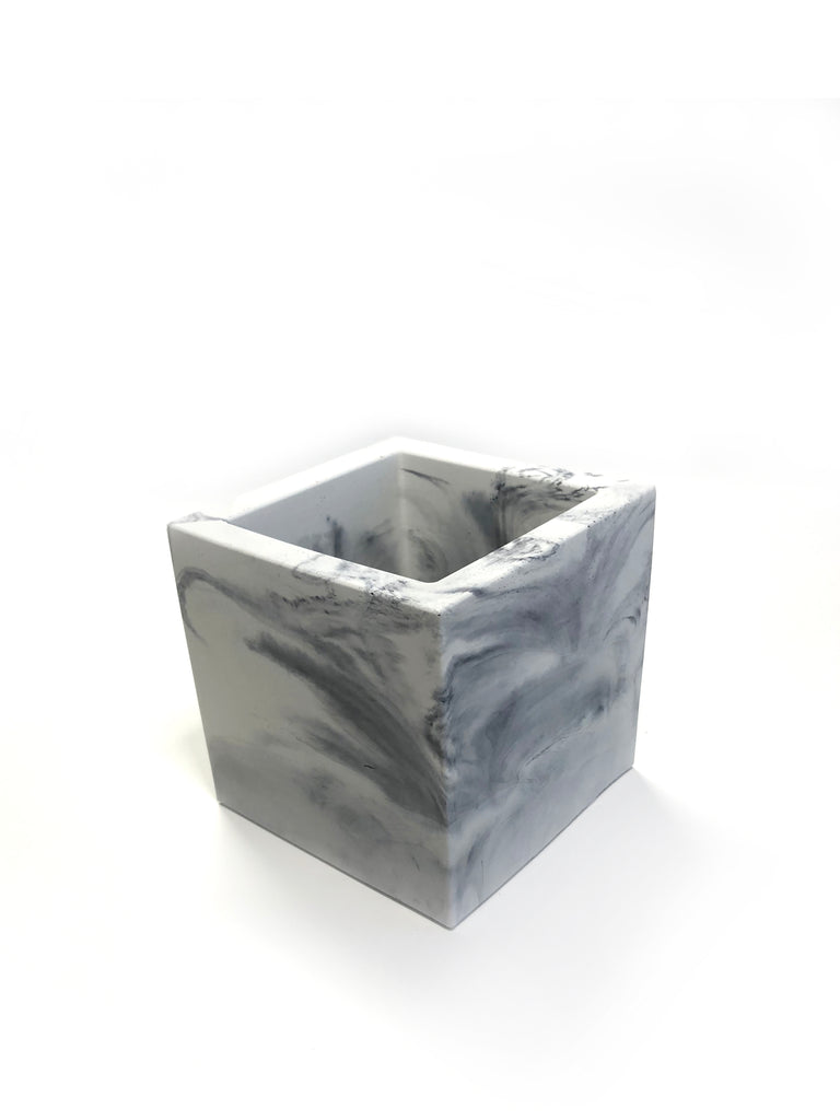Medium Square Planter - Light Marble