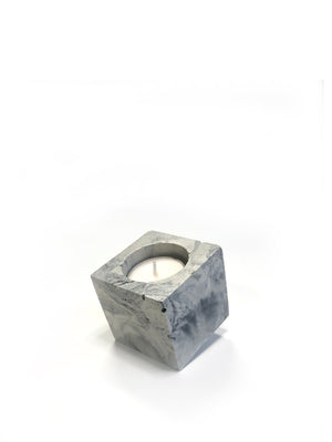 Square Tea Light Candle - Light Marble