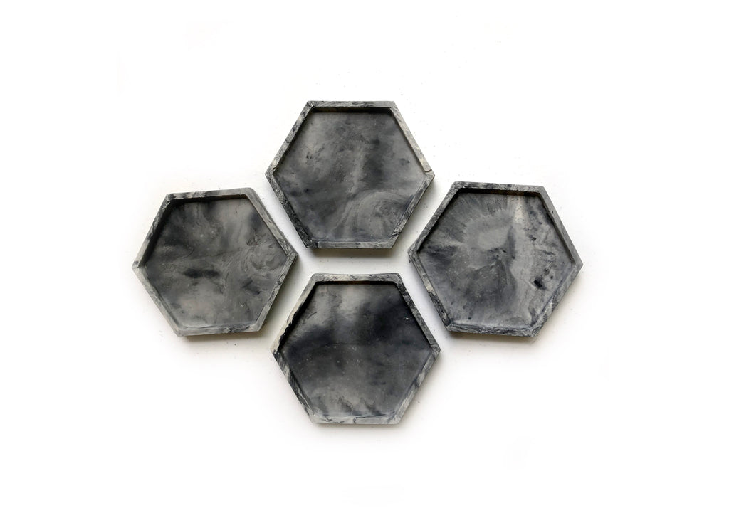 Geometric Coasters (set of 4) - Dark Marble