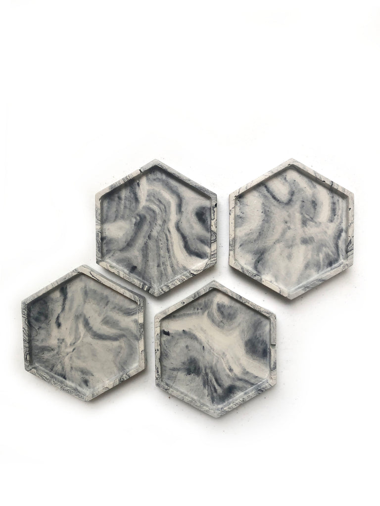Geometric Coasters (set of 4) - Light Marble