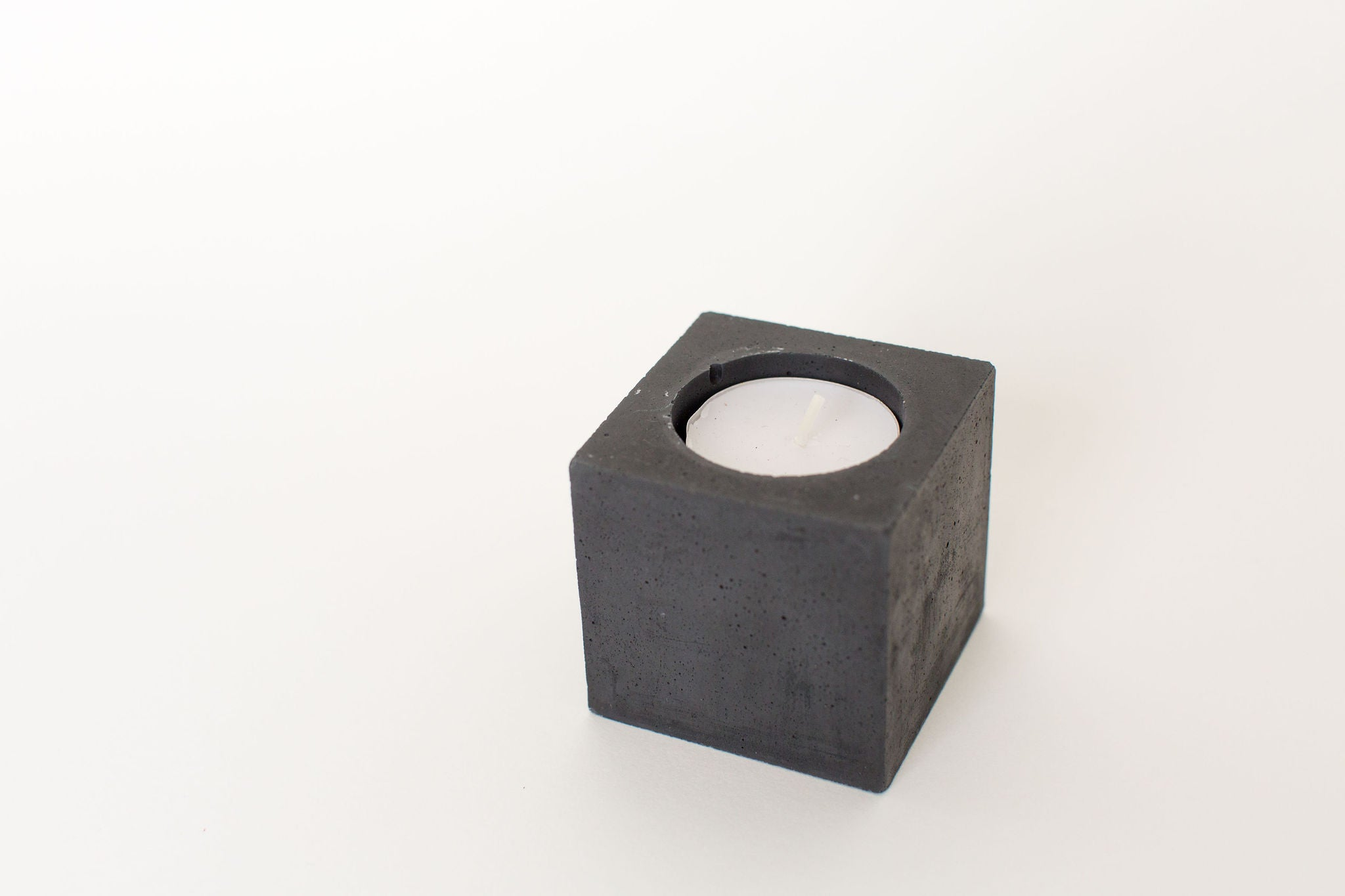 Square Tea Light Candle - Charcoal