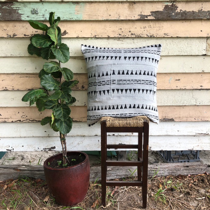 .PALE. 26x26 Mudcloth Cushion - Grey Aztec