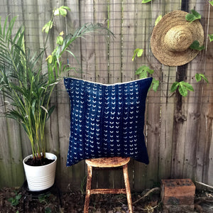 .PALE. 26x26 Mudcloth Cushion - Indigo Dark