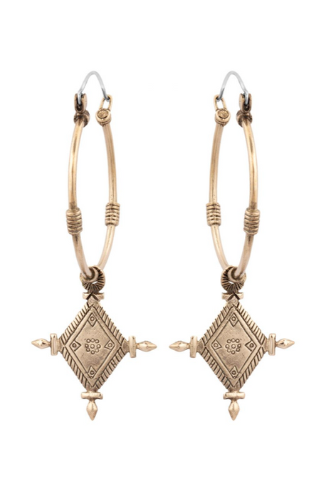 Brass Imani Tribal Hoops