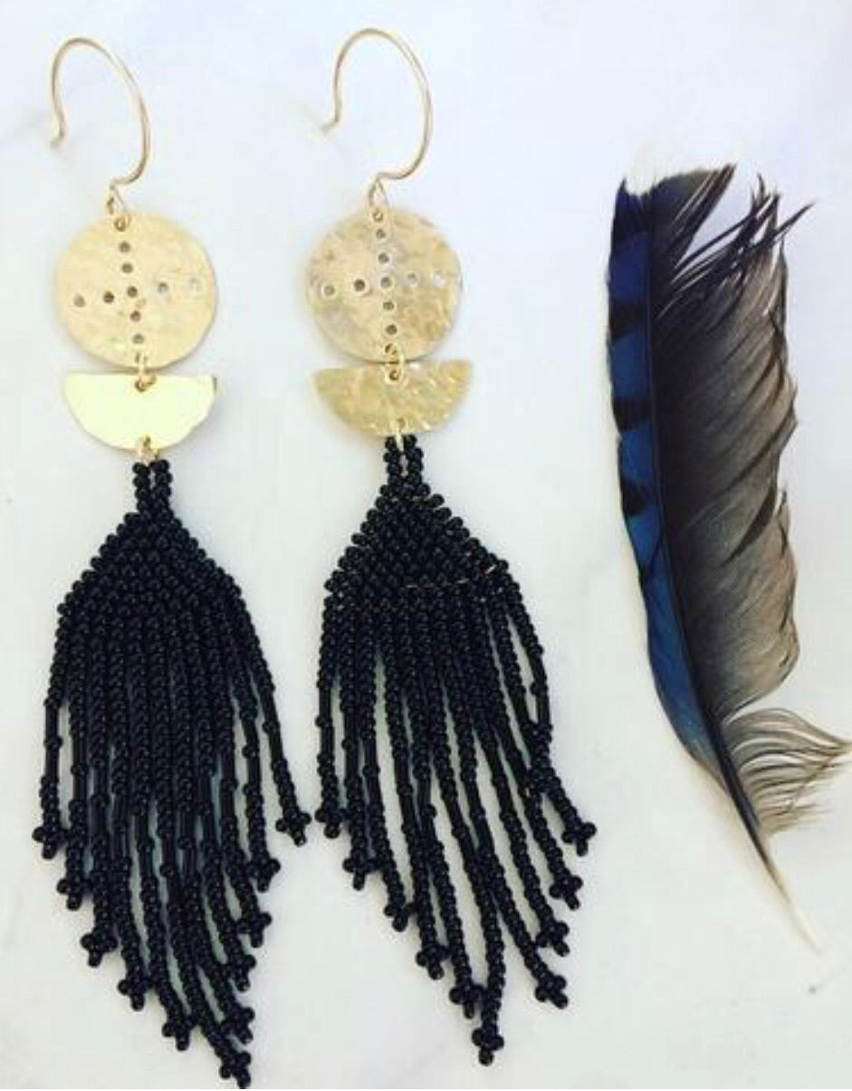 Dark Compass Beaded Earrings