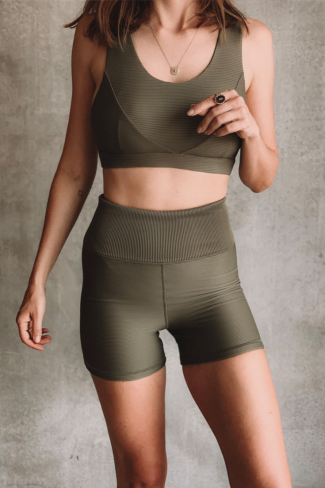 Piper Bike Shorts -Olive Rib