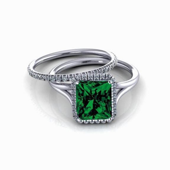 2.00 carat Emerald Cut Emerald and Diamond Halo Bridal Set in 9k White Gold