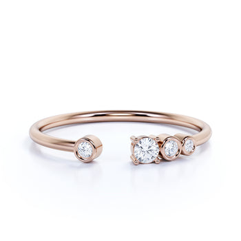 Charming 4 Stone Stackable Wedding Ring Band in Rose Gold