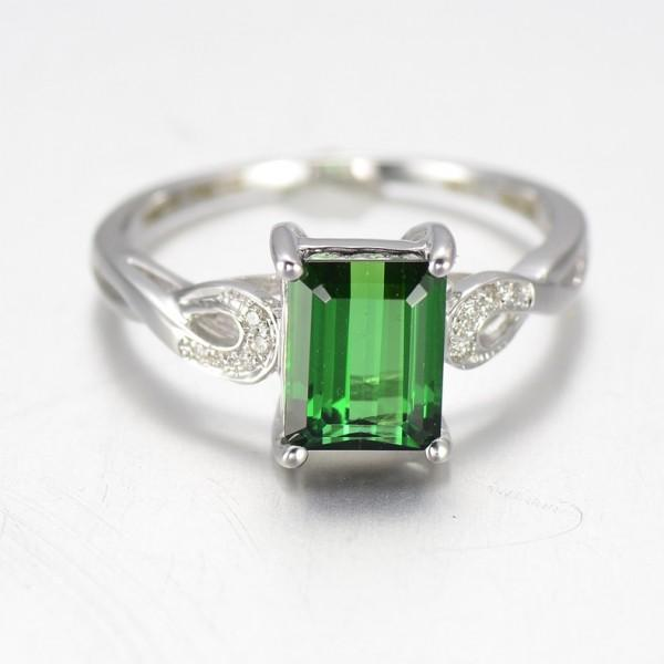 1.25 Carat Emerald and Diamond Engagement Ring