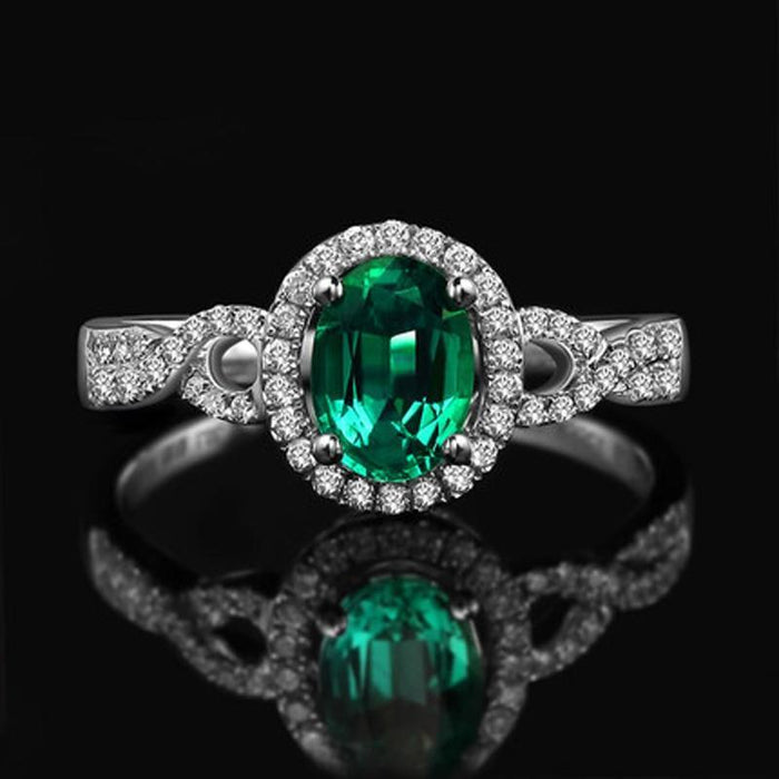 1 Carat Emerald and Diamond Halo Engagement Ring