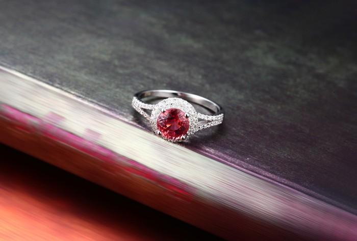 1 Carat Round cut Red Ruby and Diamond Halo Engagement Ring