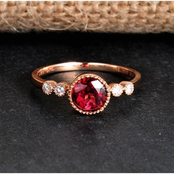 1 Carat Ruby and Diamond Antique Engagement Ring