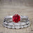 Bestselling 1.50 Carat Round cut Ruby and Diamond Trio Wedding Ring Set in White Gold