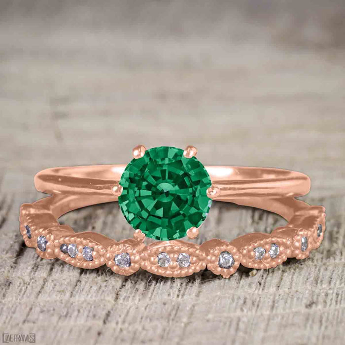 Antique Artdeco 1.25 Round cut Emerald and Diamond Wedding Bridal Set in Rose Gold