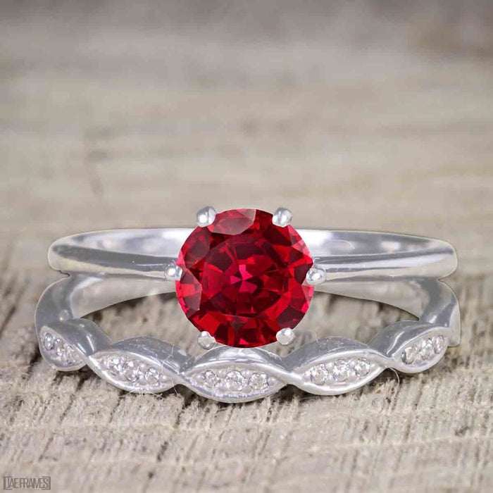 Vintage Design 1.25 Carat Round Cut Ruby and Diamond Wedding Set for Women in White Gold