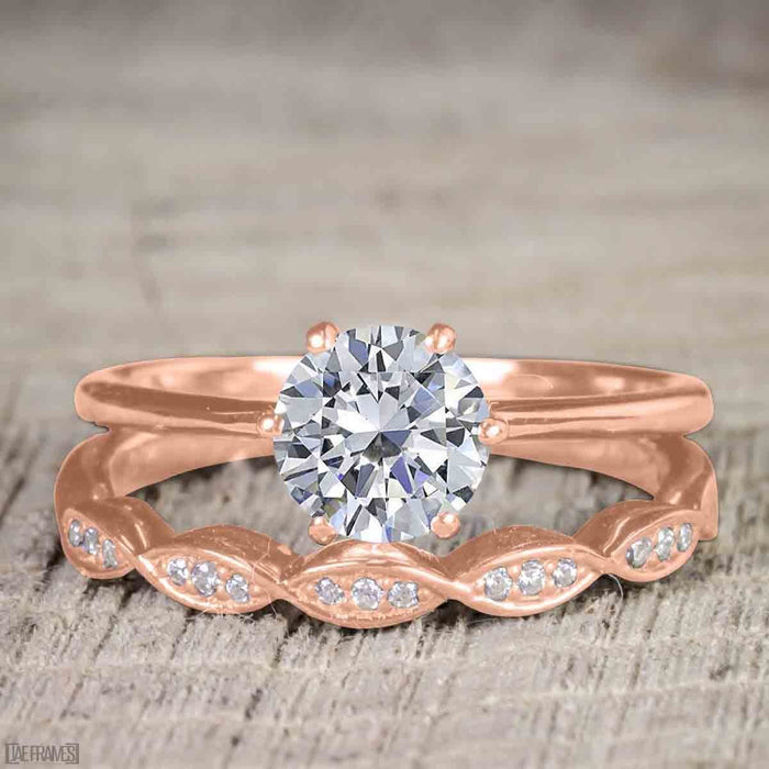 Vintage design 1.25 Carat Round Cut Moissanite and Diamond Wedding Set for Women in Rose Gold