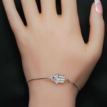 Hamsa Styled .25 Carat Round Cut Diamond and Sapphire Chain Bracelet in Silver