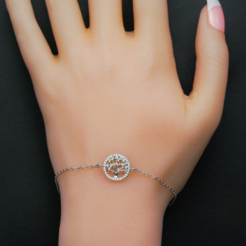 Tree of Life Inspired .25 Carat Round Cut Diamond Link Bracelet in Silver