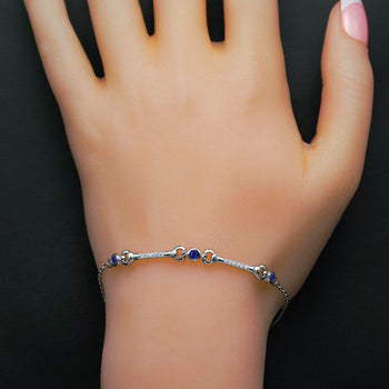Three Stone with Bar Link .50 Carat Round Cut Diamond and Sapphire Chain Bracelet in Silver