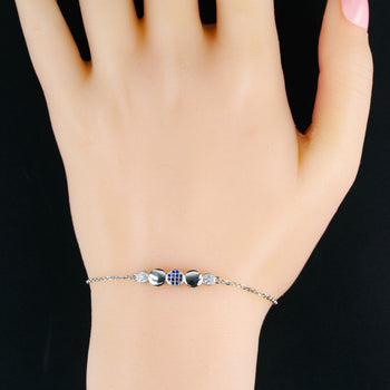 Five Round Shape Styled .25 Carat Round Cut Diamond and Sapphire Chain Bracelet in Silver