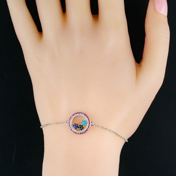 Multi Color Stone Flower .50 Carat Round Cut Diamond Chain Bracelet in Silver