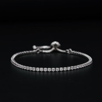 Art Deco 2 Carat Round Cut Diamond Line Tennis Bracelet in Silver