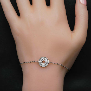 Two Circle Shape .25 Carat Round Cut Diamond Friendship Bracelet in Silver