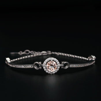 Channel Set 1 Carat Round Cut Diamond and Morganite Halo Bolo Bracelet in Silver