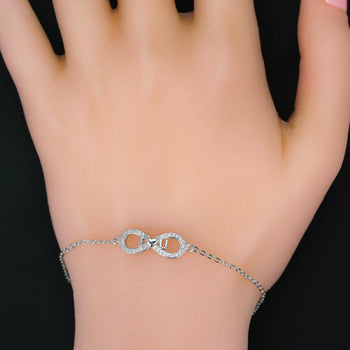 I Love You Infinity .25 Carat Round Cut Diamond Chain Bracelet in Silver for Women
