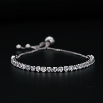 Four Prong Set 2 Carat Round Cut Diamond Bolo Bracelet in Silver