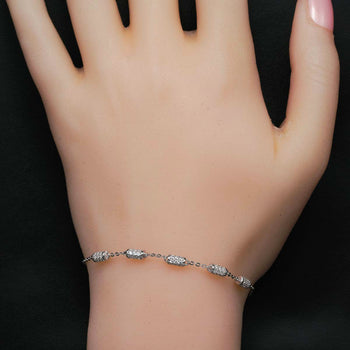 Five Cylinder Shape .50 Carat Round Cut Diamond Chain Bracelet in Silver