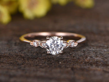 5 Stone 1.25 Carat Round Cut Moissanite and Diamond Engagement Ring in Rose Gold