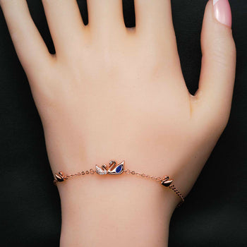 Classic Swan .50 Carat Round Cut Diamond and Sapphire Chain Friendship Bracelet in Silver