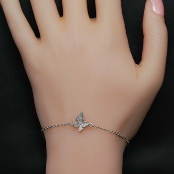 Butterfly Design .25 Carat Round Cut Diamond Link Bracelet in Silver for Women