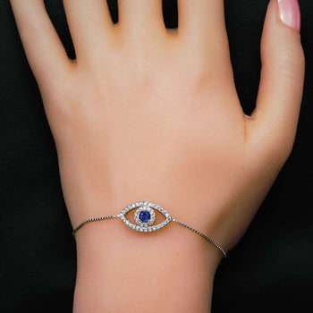 Tiny Pave Evil Eye .50 Carat Round Cut Diamond and Sapphire Link Bracelet in Silver