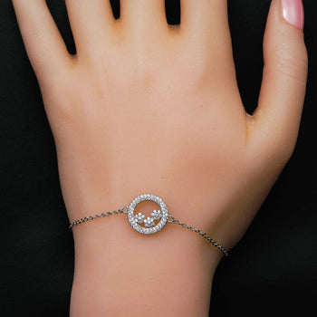 Three Flower Design .50 Carat Round Cut Diamond Halo Link Bracelet in Silver