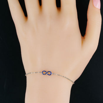 Infinity Style .15 Carat Round Cut Sapphire Chain Bracelet in Silver