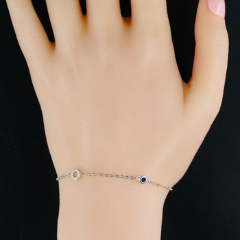 Single Ring Shape .25 Carat Round Cut Diamond and Bezel Set Sapphire Link Bracelet in Silver