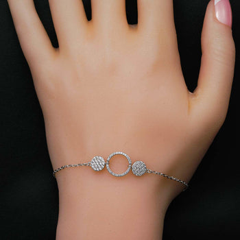 Trilogy Round Shape .50 Carat Round Cut Micro Pave Diamond Link Bracelet in Silver