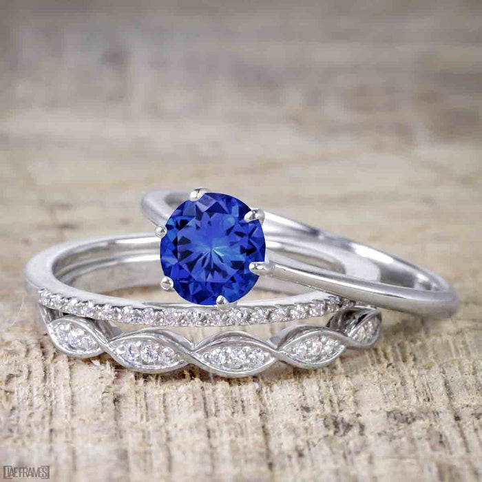 1.50 Carat Round Cut Sapphire and Diamond Solitaire Trio Wedding Bridal Ring Set in White Gold