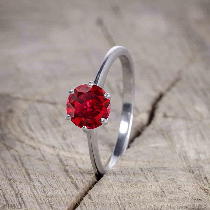 Beautiful 1 Carat Round cut Ruby Solitaire Engagement Ring for Women in White Gold