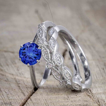 Unique 1.50 Carat Round Cut Sapphire and Diamond Trio Wedding Ring Set in White Gold for Her