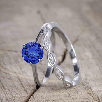 Vintage Design 1.25 Carat Round Cut Sapphire and Diamond Wedding Ring Set for Women in White Gold