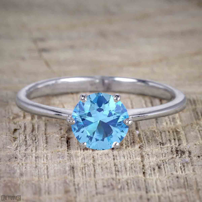 1 Carat Round Cut Aquamarine Solitaire Engagement Ring in White Gold
