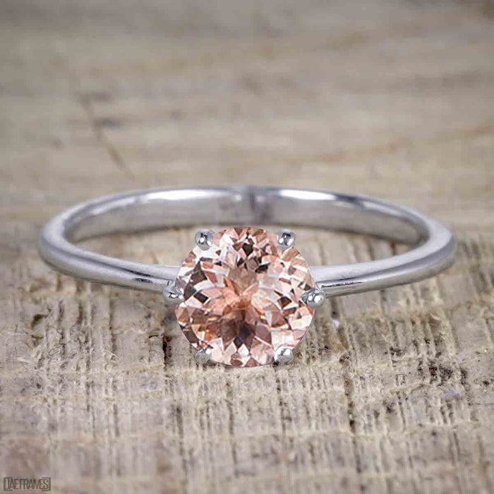 1 Carat Round Cut Morganite Solitaire Engagement Ring in White Gold