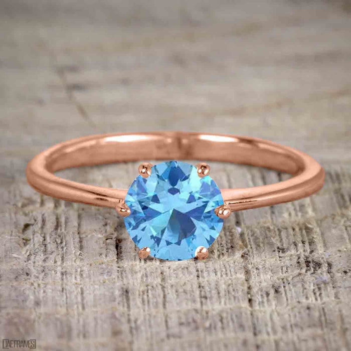 1.50 Carat Round cut Aquamarine and Diamond Trio Wedding Ring Set in Rose Gold