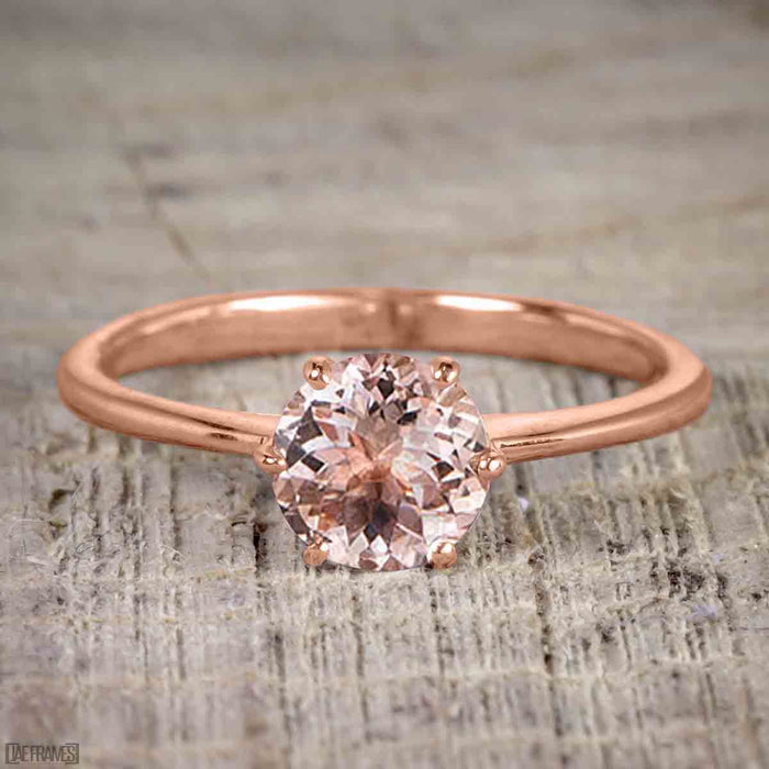Perfect 1.25 Carat Round Cut Morganite and Diamond Bridal Ring Set in Rose Gold