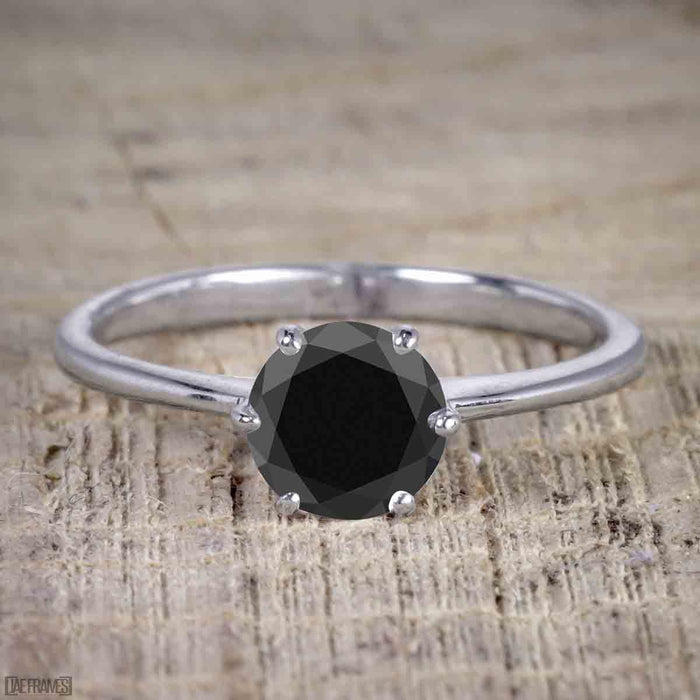 Perfect 1.25 Carat Round Cut Black Diamond Bridal Ring Set in White Gold