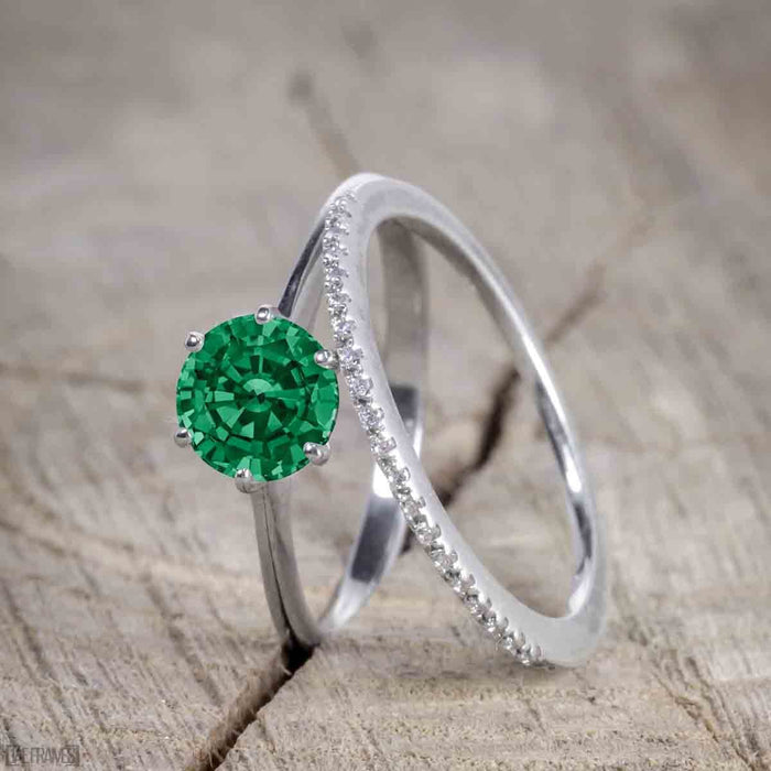 Unique 1.25 Carat Round cut Emerald and Diamond Bridal Set with semi eternity band in White Gold